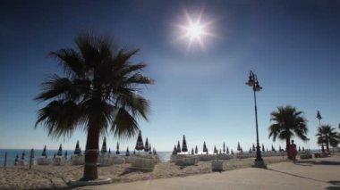 女人步行街附近海滩沿 — 图库视频影像