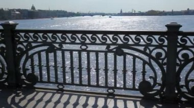 Panorama of Petersburg on Neva River from bridge — Vidéo