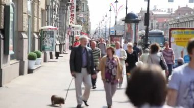 People go on sidewalk of the Neva prospectus — Stock Video