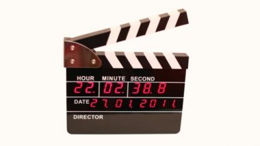 Front view on electronic clapboard on white background — Stock Video