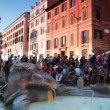Stock Video: Tourists walk on Spanish Steps (Italian: ScalinatdellTrinità dei Monti)