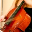 Stock Video: Close-up of womplays violoncello