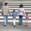 Family goes by pedestrian crossing road — Stock Video