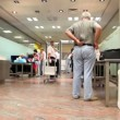 Few people prepare to move throught airport customs — Stock Video