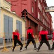Dance team dance synchronously in modern style — Stock Video #28843989