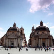 Symmetrically arranged edifices of Santa Maria in Montesanto on Piazza del Popolo — Stock Video #28844009