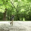 Stock Video: Boy runs across forest meadow all strewn fluff