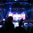 People sit at control panel Big Digit - 2011 awards ceremony — Stock Video