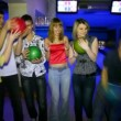 Six friends stay and laugh with balls in bowling club — ストックビデオ
