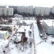 Panoramic view of the city of the windows in winter — Stock Video