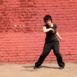 Fat womin black clothing dance in modern style — Stock Video #28845185