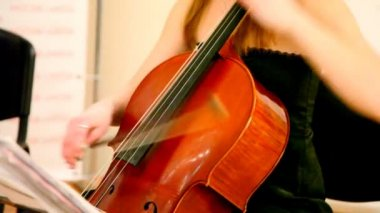 Close-up of woman plays a violoncello — Stock Video