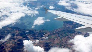 Aircraft turn at flight over sea shore — Stock Video