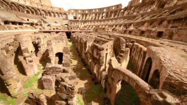 Colosseum arena area and the tunnels under it, shown closer in motion — Stock Video
