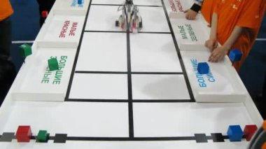 Robot sort bricks by color and shape at ROBOFEST-2011 — Stock video