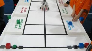 Robot sort bricks by color and shape at ROBOFEST-2011 — Vídeo Stock