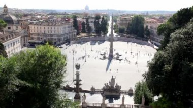 View of city from above, Piazza del Popolo with obelisk on it and people walk — Stock Video