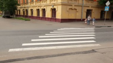 Mother and children are at pedestrian crossing road behind them on road — Stockvideo