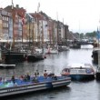 Excursion motorboats at Nyhavn canal — Stok video