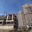 Panorama of the construction site of high-rise buildings — Stock Video