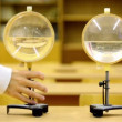 Water lenses for educational experiments in physics, man came and take one — Stock Video