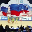 Stock Video: Girls team performance with ribbons on World Rhythmic Gymnastics Championships