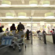 People with baskets on supermarket cash-desk — Stock Video
