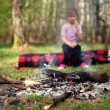 Little girl sits on log and watch at bonfire burn — Stock Video
