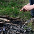 Stock Video: Little boy kindles bonfire with match, only legs are visible