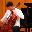 Stock Video: Narek Hakhnazaryplays cello in Museum of Musical of Culture named Glinka