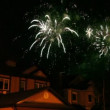 Fireworks glisten at dark sky over roofs of few houses — Stock Video