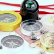 Fifteen different multi-colored compasses — Stock Video