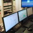 Control room with monitors, scheme, gages and switches — Stock Video #29829195