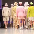 Backs of men wear light suits from SlavZaytzev walk catwalk — Stock Video #29829249
