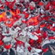 Smoldering embers with small amount of smoke and fire — Stock Video #29829497
