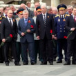Prime minister of Russia V.Putin stand with political leaders and military men — Stock Video