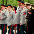 High command walk with flowers on wreath laying ceremony — Stock Video