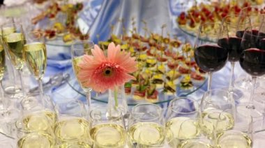 Hand take canape from appetizer table with champagne and other delights — Stock Video