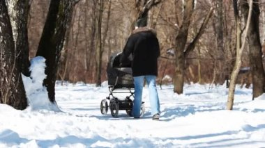 Father with baby in stroller go through forest — Stock Video