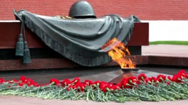 Eternal fire on memorial grave of Unknown soldier of Second World War — Stock Video