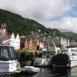 Yachts and motorboats at bay in old Norwegian port — Stock Video #29830595