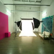 Fly through photo studio between spotlights — Stock Video #29830831