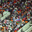 Spectators with Azerbaijani flags at World Rhythmic Gymnastics Championships — Stock Video