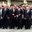 Prime minister of Russia V.Putin hold flowers and stand with political leaders and military men — Stock Video