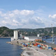 Freight ship leaves docks in Kristiansand, time lapse — Stock Video #29831023