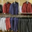 Stock Video: Panoramof jackets hanging in shop