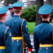 Prime minister of Russia Vladimir Putin walk on wreath laying ceremony — Stock Video