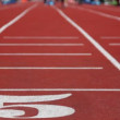 Running track number five with special red cover for racing — Stockvideo