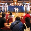 Animators perform in hall on board of cruise ship — Stock Video