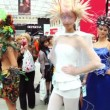 People walk among models and make photo at XVII International Festival World of Beauty 2010 — Stock Video #29831897